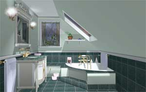 Perspective drawing by computer design software for for Ensuite design tool