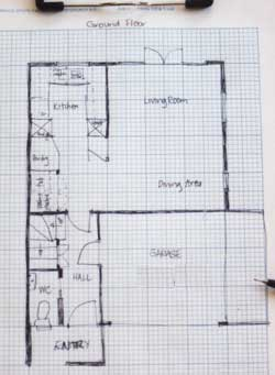 How to site measure site survey a house for interior for How to draw a room to scale
