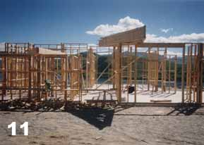 Roof framing stacked on top of the walls