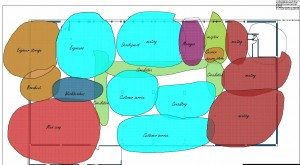 colored bubble diagram for office planning and interior design